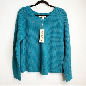WILDFOX Blue Star Studded Knit Sweater LARGE